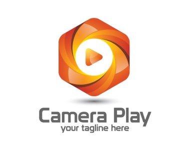 3D camera photography logo design. Colorful  3D photo logo vector template. camera play concept with 3D style design vector.
