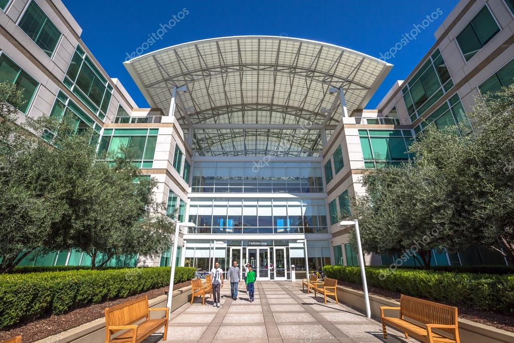 apple cupertino office. Cupertino, CA, USA - August 15, 2016: People Walk In Front Of The Apple World Headquarters At One Infinite Loop. Is A Multinational Corporation That Cupertino Office N