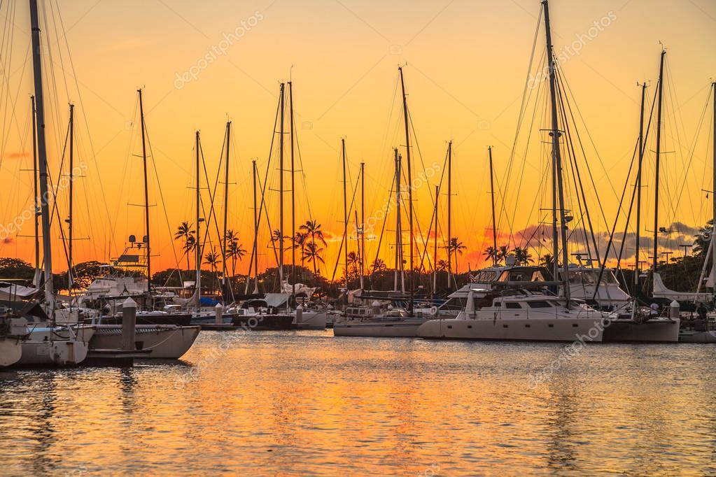 Honolulu Harbor at sunset