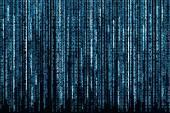 Fotografie modré binární kód