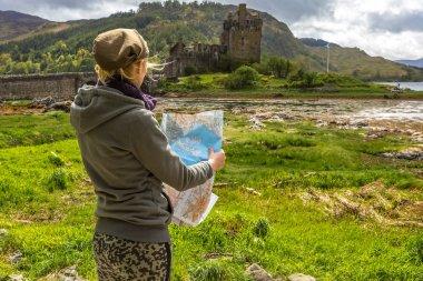 Tourist at Eilean Donan Castle