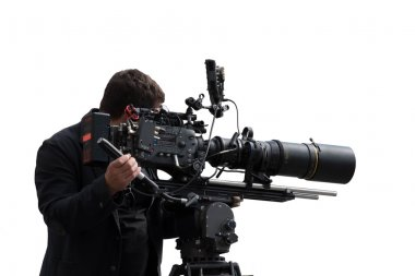 Professional camera man filming a footage with an advanced equipment set