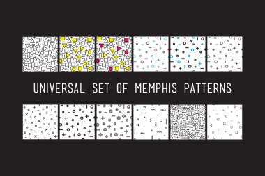 Set of universal vector fashion geometric seamless patterns. Color flat repeated trendy design elements in black, white, memphis style. For package, wallpaper, textile, your design clip art vector
