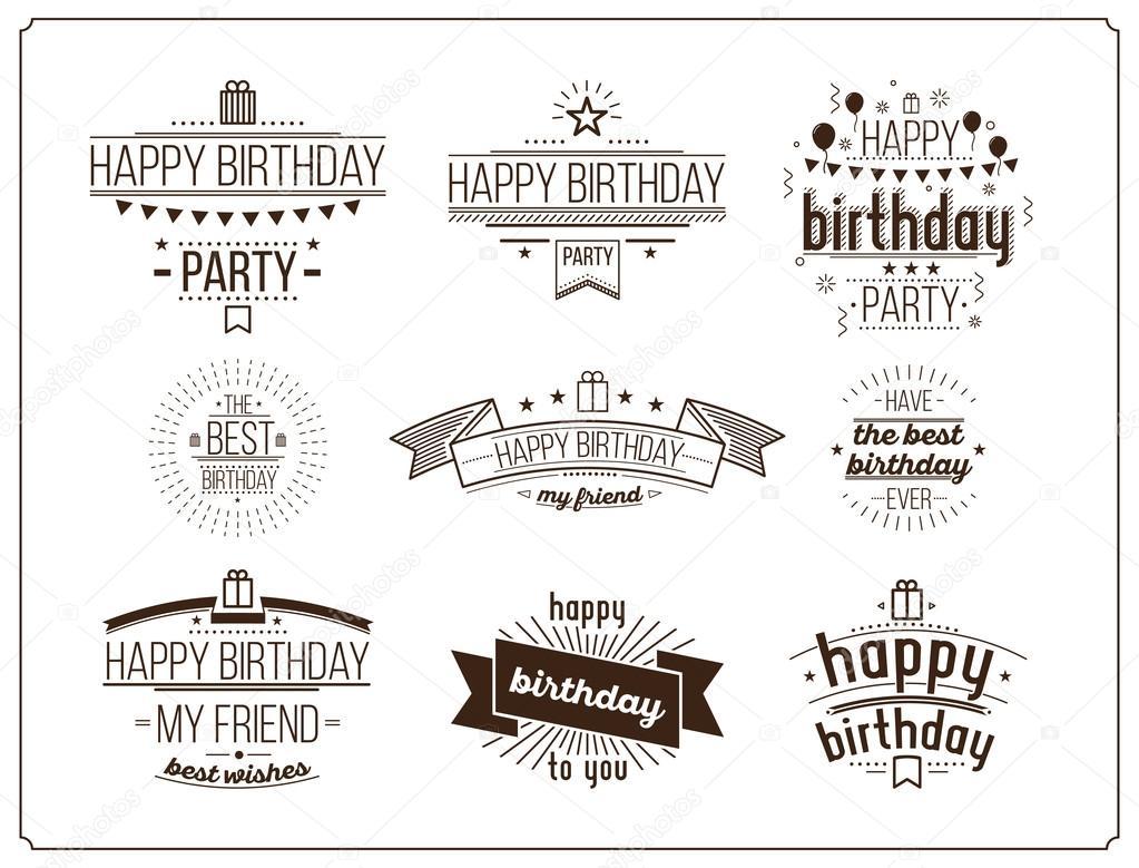 Festive Happy Birthday set — Stock Vector © Softulka #117334452