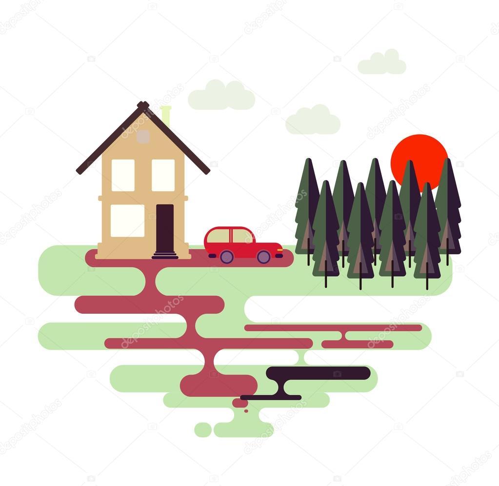 Colorful flat design nature landscape illustration