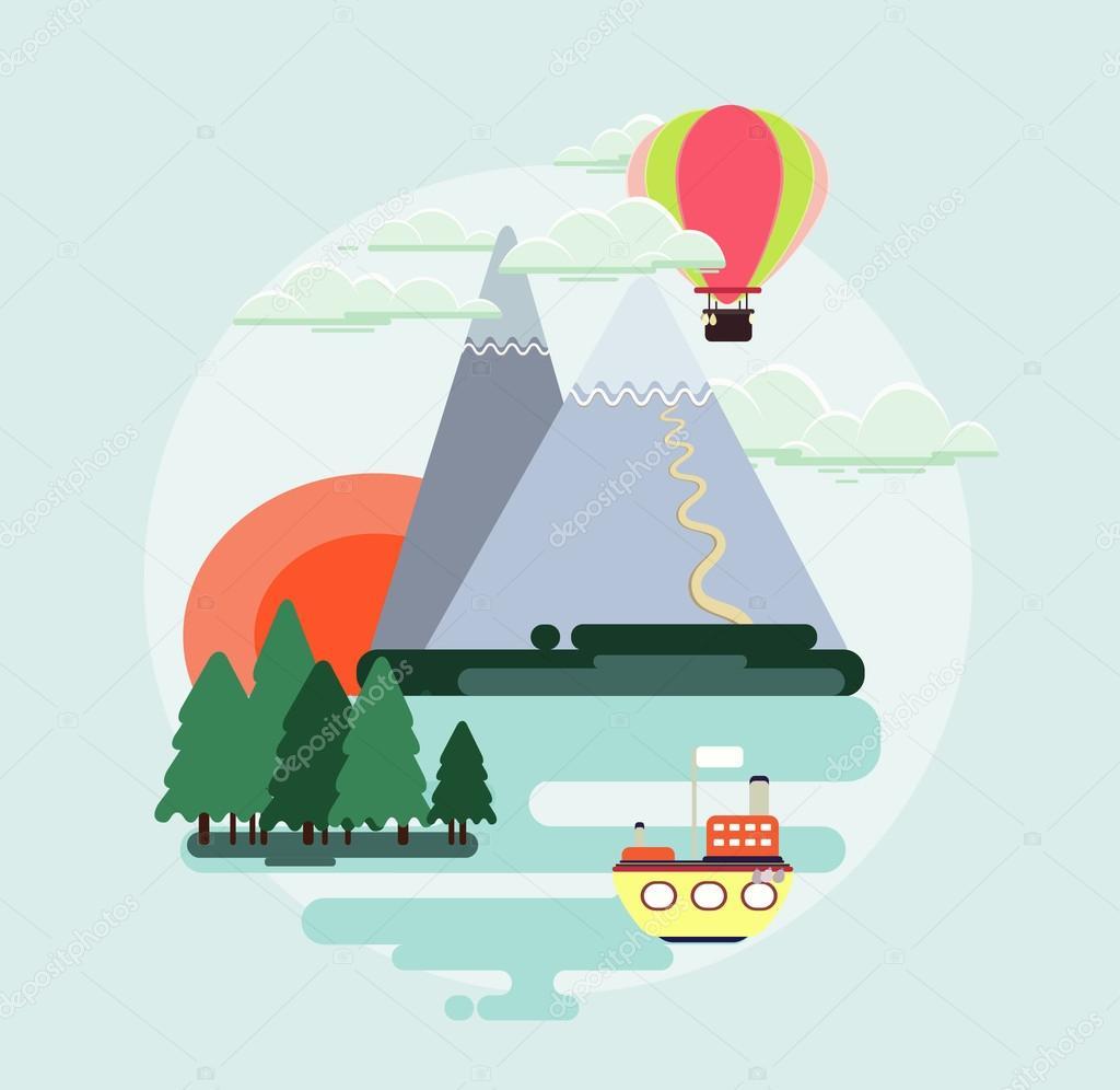 Flat design nature landscape colorful illustration