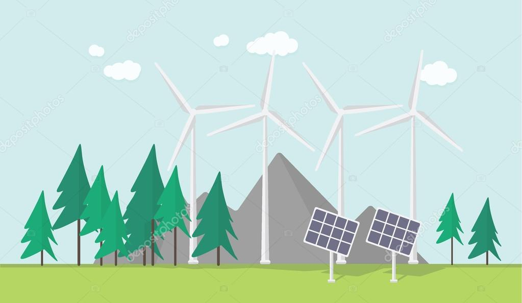Flat eco design, rural landscape with windmill, solar panels, field, forest, mountains
