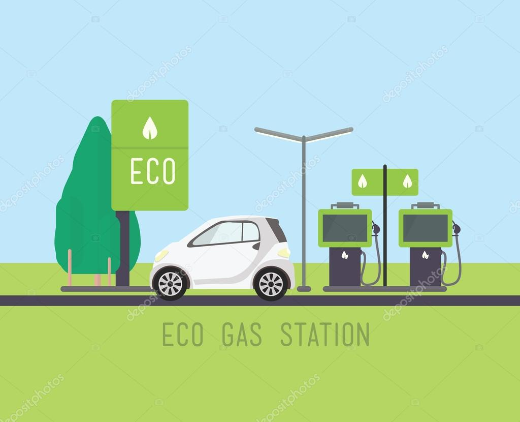 Flat eco design, rural landscape with gas station, car, petrol, windmill, field, tree