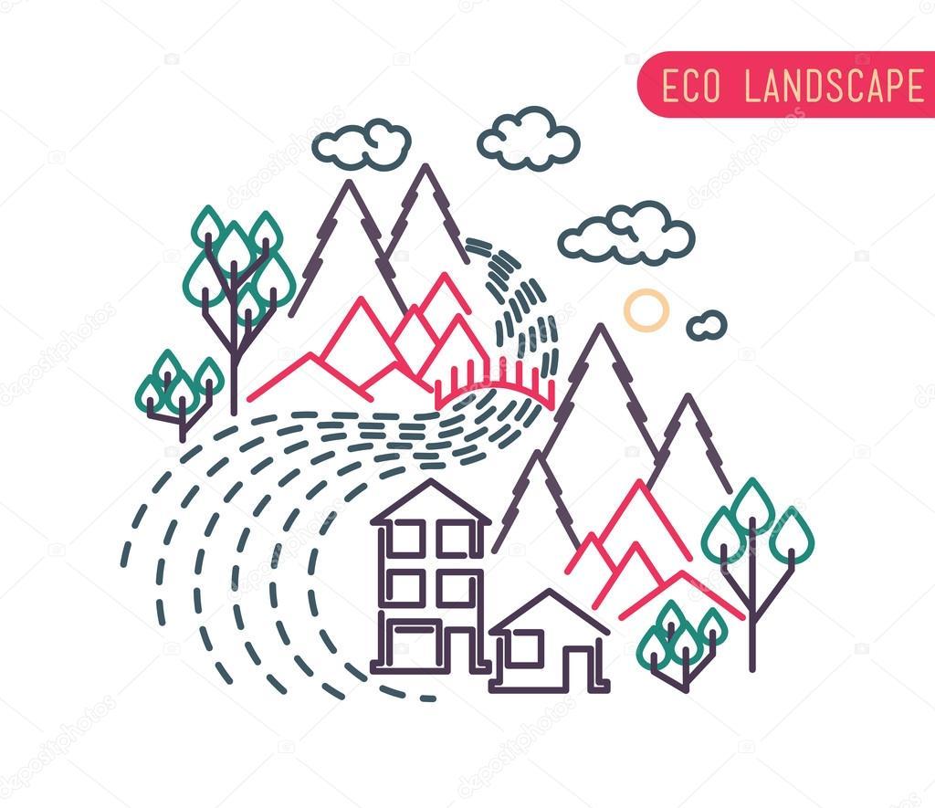 flat eco liner design, rural landscape, business