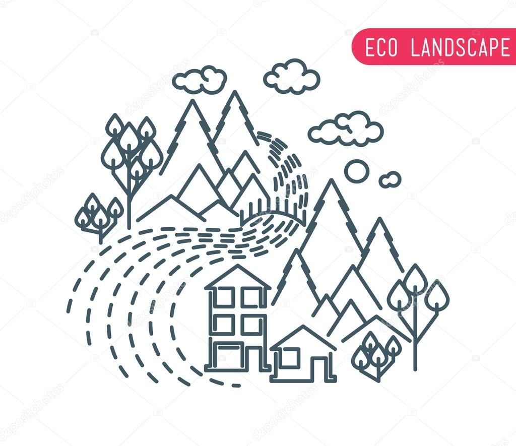 flat eco liner design, rural landscape, business