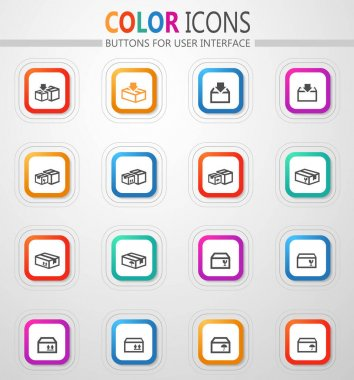 Packing cardboard boxes vector flat button icons with colored outline and shadow icon