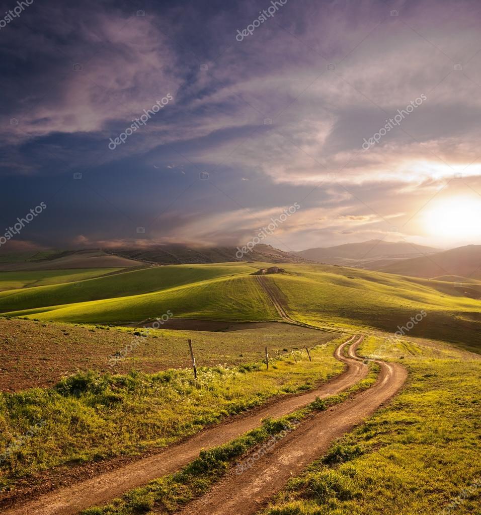 Rural Landscape At The Sunset