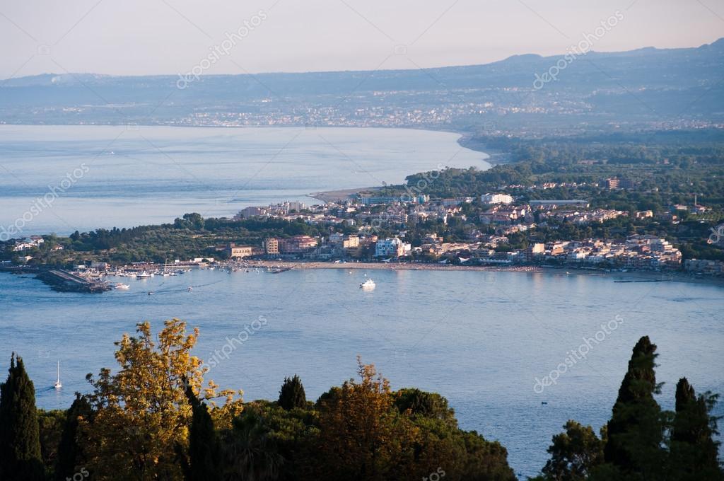 Panorama aerial on sea and houses of sicilian coast
