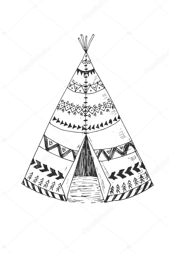tipi indien de l am rique du nord avec l ornement tribal. Black Bedroom Furniture Sets. Home Design Ideas