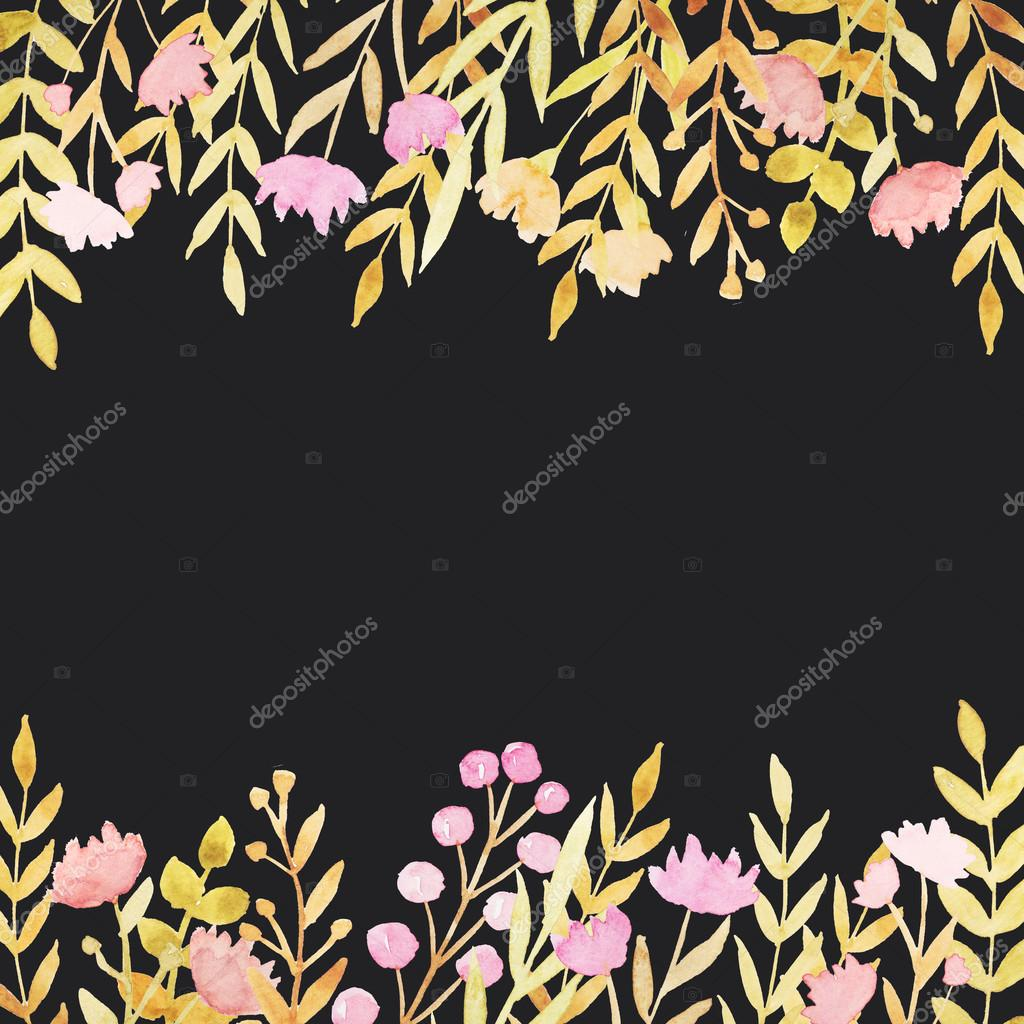 Watercolor borders with flowers and leaves