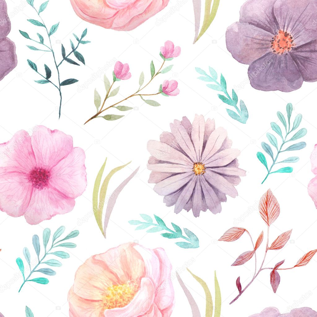 PINK Florals  PATTERNED BACKGROUND set in Bright Pastels for personal digital papers vintage retro