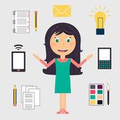 Podnikání žena, která dělá mnoho úkolů