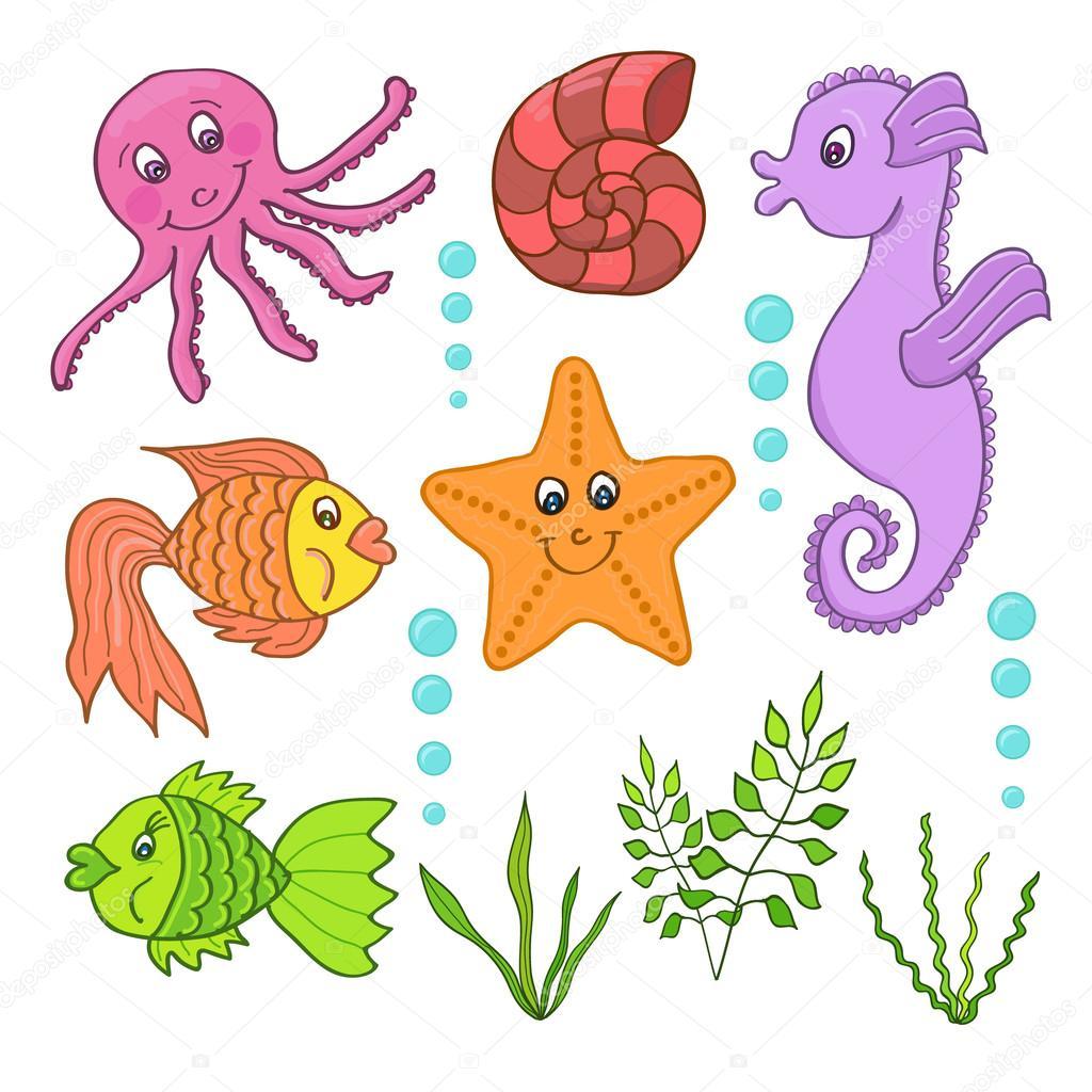 Deniz Canlılarının çizimi Stok Vektör Lisagerrard 72150629