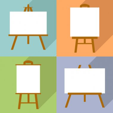 Set of easels with canvas