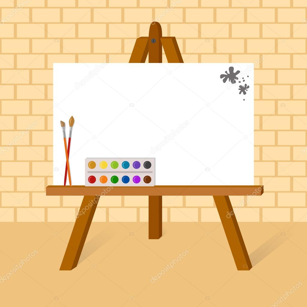 Easel with canvas — Stock Vector © lisagerrard #78740984