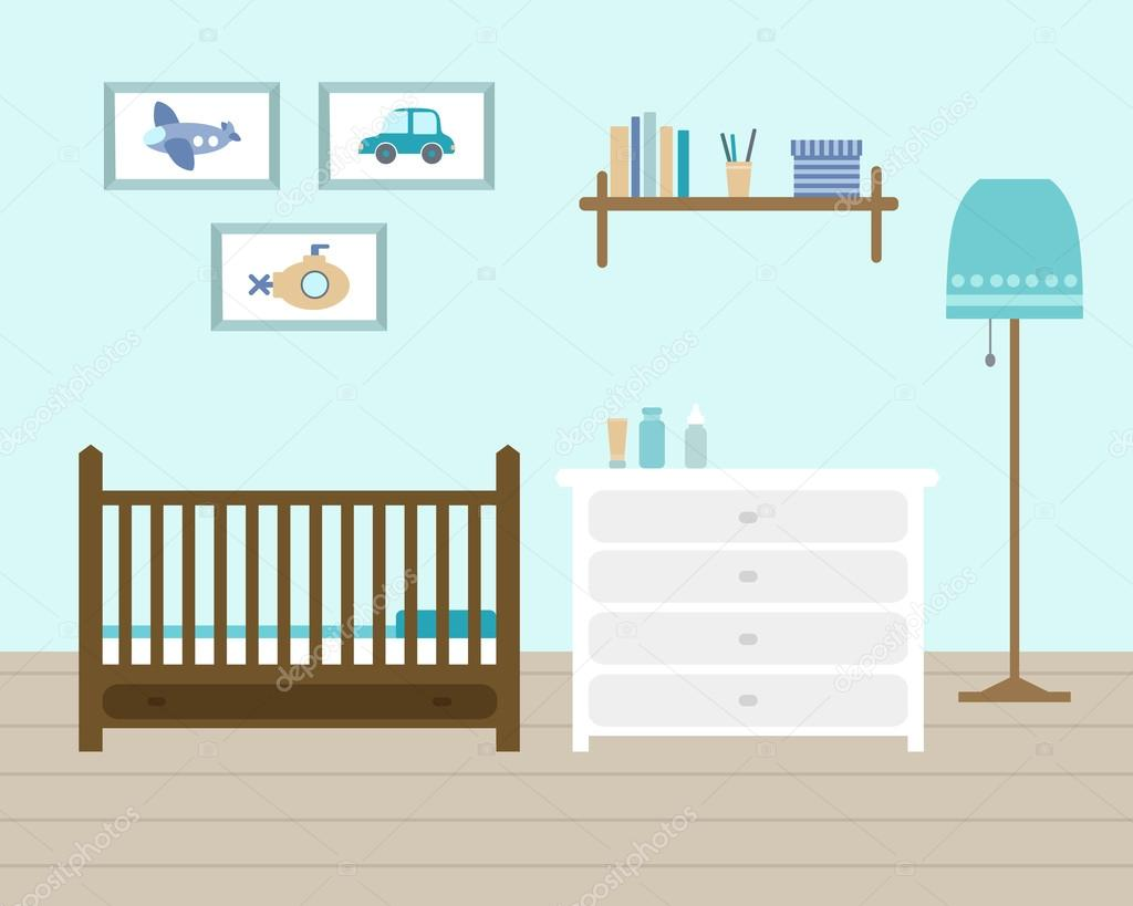 Habitación de bebé con muebles — Vector de stock © lisagerrard #78895186