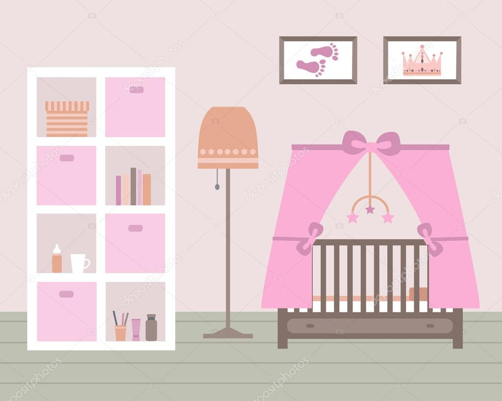 Habitación de bebé con muebles — Vector de stock © lisagerrard #78895196