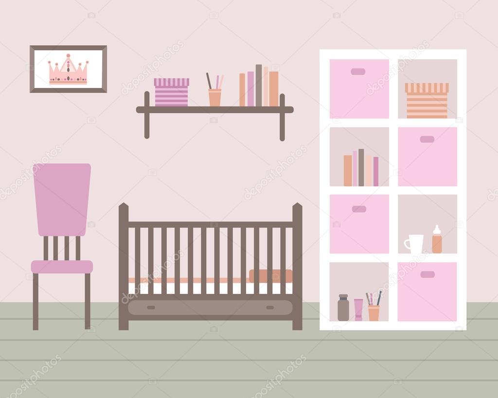 Habitación de bebé con muebles — Vector de stock © lisagerrard #78895200