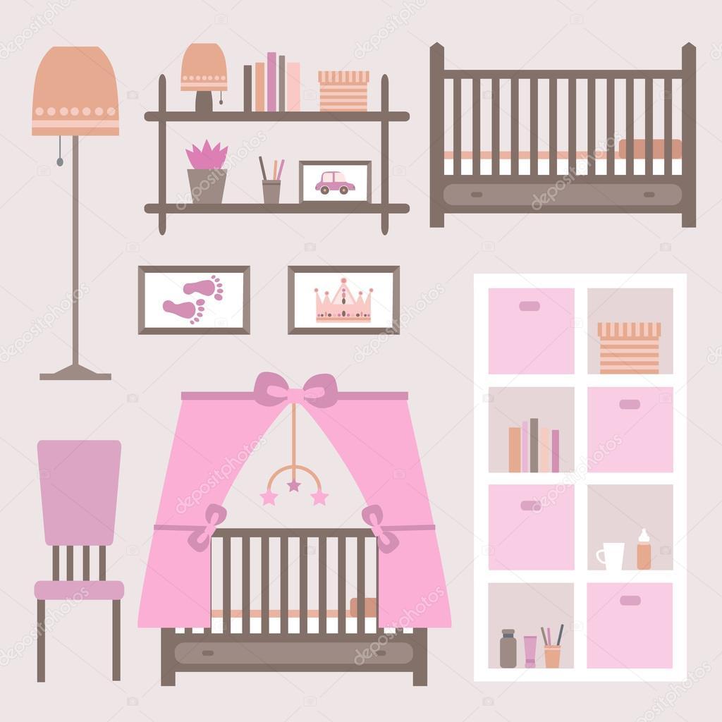 Habitación de bebé con muebles — Archivo Imágenes Vectoriales ...
