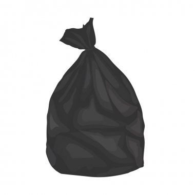 Black plastic garbage bag. Isolated on white background.Vector illustration. icon