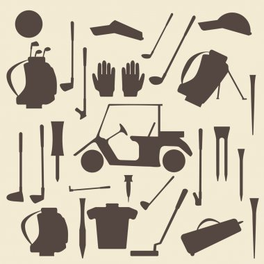 Golf sport items silhouette icon set.  Driver, wood, iron, wedge, putter golf clubs and cart . Tee and glove.  Editable and  design suitable.