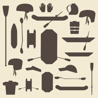 Rafting sport items silhouette icon set. Oar and paddle rafts. Cataraft and inflatable kayak.  . Paddles and helmets. Whitewater rafting.  Editable and web design suitable.