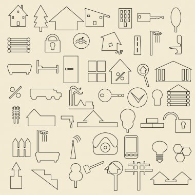 Real estate items linear icons illustration.