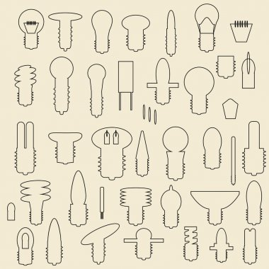 Electric bulbs linear icons illustration.