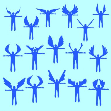 Angels  linear icon set.  Different wing styles.  Editable and design suitable vector .