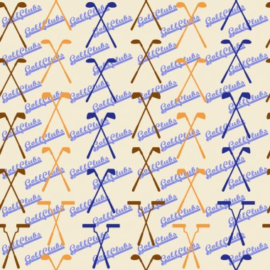 Golf sport clubs seamless texture in vintage style.  Driver, wood, iron, wedge, putter  clubs and club heads. Editable and  design suitable.