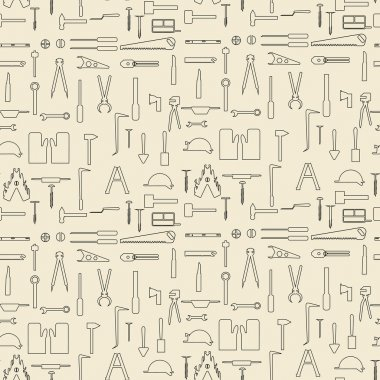 Construction tools items linear set seamless texture.