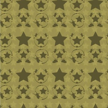 Vintage patriotic  airplane, tank and star seamless texture.    Camouflage colors. Editable vector illustration. Perfect for miilitary style clothing  and lining design.