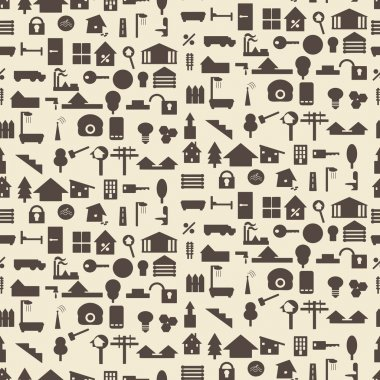 Real estate and construction icon silhouette set seamless texture.   Editable vector illustration. Perfect as  design template.