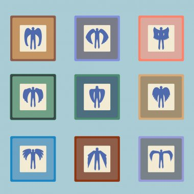 Angels  silhouette icon set.  Different wing styles.  Editable and design suitable vector.