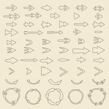 Arrows  linear icon set.    Editable and design suitable vector illustration.