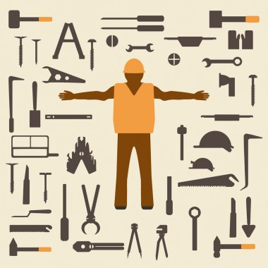 Construction tools and worker silhouette icons set.  Design suitable  vector illustration.