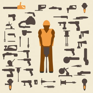 Construction tools and worker silhouette icons  set. Design suitable and editable vector.