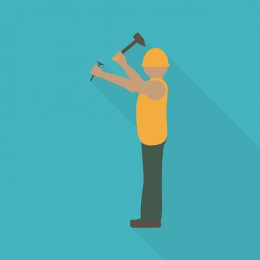 Construction worker flat icon.