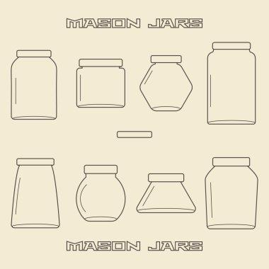 Mason jars  linear icon set.
