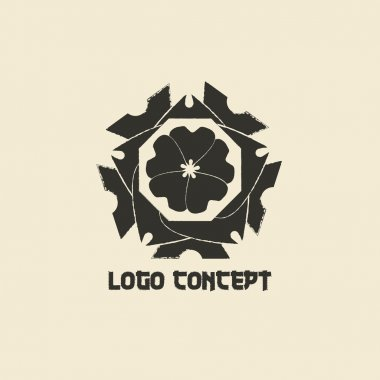 Logo template in oriental style. Ethnic religious  design logotype for business. Japanese, chinese and other eastern ornament.