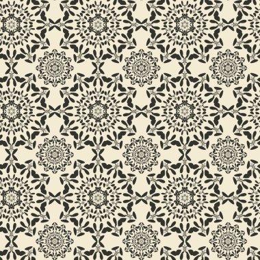 Mandala round ornament seamless texture. Circular oriental seamless background.