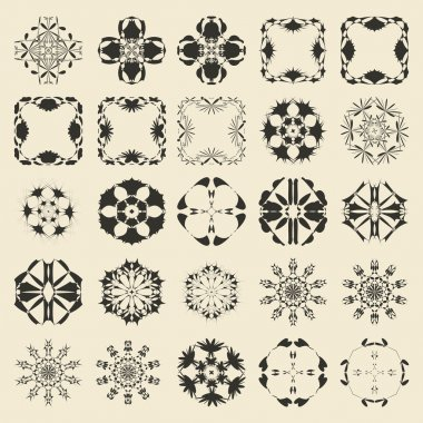 25 round and polygonal ornament element set. Twenty five  monochrome sample object collection.  Circular, floral, oriental, geometrical, grunge motif swatch.