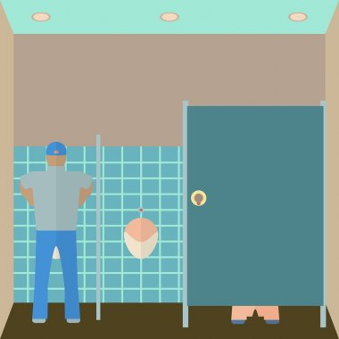 Toilet interior vector illustration. Lavatory in flat style. Men restroom design template. WC inside view.