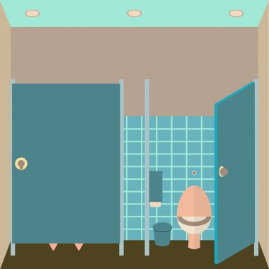 Toilet interior vector illustration. Lavatory in flat style. Women restroom design template. WC inside view.