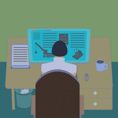 Female office worker at her computer desk. Working room section interior view. IT engineer and web designer workplace. Flat design  vector illustration.
